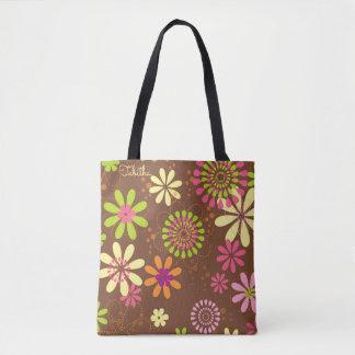 Retro Daisy Brown Tote Bag