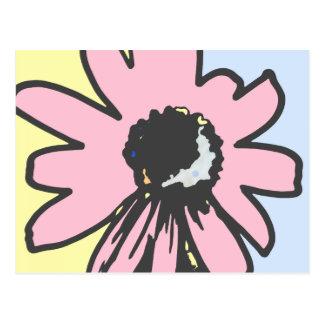 Retro daisy yellow pink blue floral RMPD06 Postcard