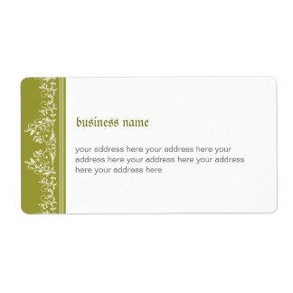 Retro Damask Filigree Side Elegant Olive Green 3 Shipping Label