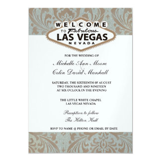 Retro Damask Floral Las Vegas Wedding Invite Personalized Invites