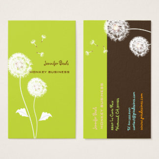 Retro dandelions/DIY background/Moss Green Business Card