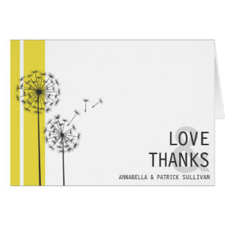 Retro Dandelions Yellow Minimalist Thank You Card