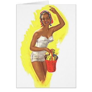 Retro Day At The Beach Card Fun Vintage Style Lady