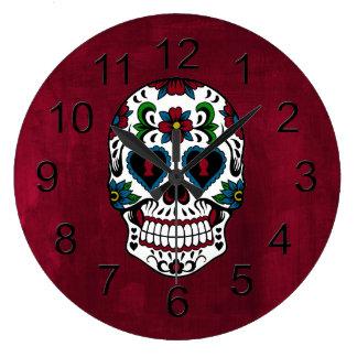 Retro Day of the Dead Sugar Skull Large Clock