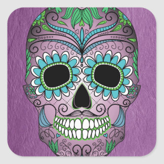 Retro Day of the Dead Sugar Skull on Leather Square Sticker