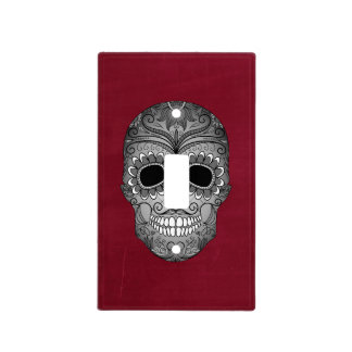 Retro Day of the Dead Sugar Skull on Red Light Switch Cover