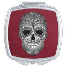 Retro Day of the Dead Sugar Skull on Red Vanity Mirror