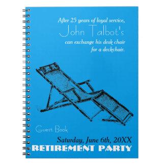 Retro Deckchair Retirement Party Blue Guest Book 2