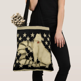 Retro Deco Pastel Cat Star Pattern Tote Bag