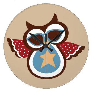 Retro Deco USA 4th July Patriotic Owl Design Clocks