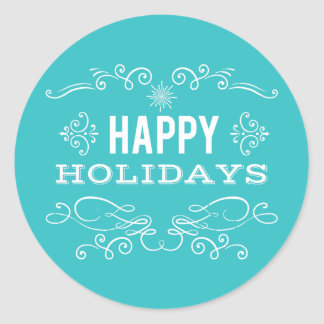 Retro Decorative Happy Holidays Sticker