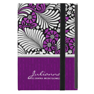 Rétro dénommer floral et blanc violet étui iPad mini