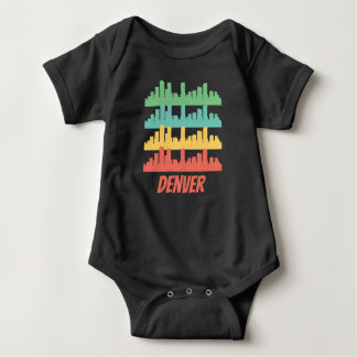 Retro Denver CO Skyline Pop Art Baby Bodysuit