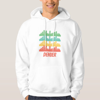 Retro Denver CO Skyline Pop Art Hoodie