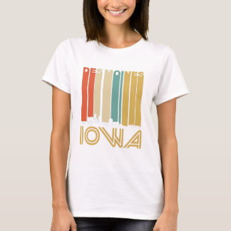 Retro Des Moines Iowa Skyline T-Shirt