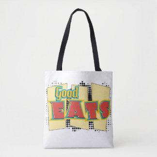 "Retro Design ""Good Eats"" Tote Bag Grocery Bag"