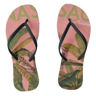 Retro design patterned thongs or flip flops
