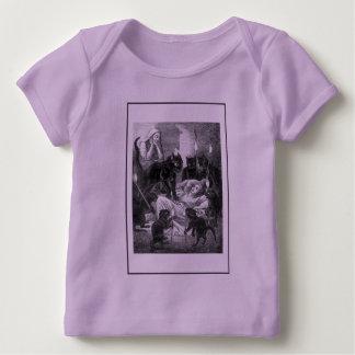 Rétro dessin de partie de chat noir t-shirt pour bébé