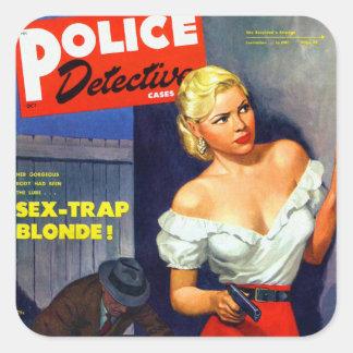 Rétro détective de police vintage de femmes de pul autocollants carrés