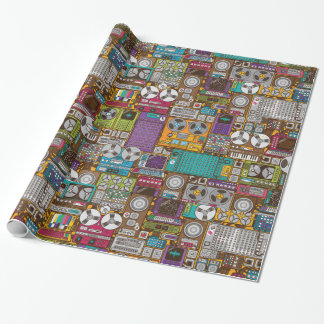 Retro Devices Recording Studio Wrapping Paper