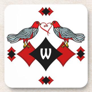 Retro Diamonds, Birds and Heart Worms_Monogrammed Coaster