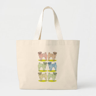 RETRO different coloured pug dogs Large Tote Bag
