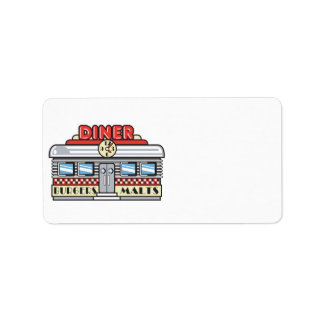 retro diner design custom address label