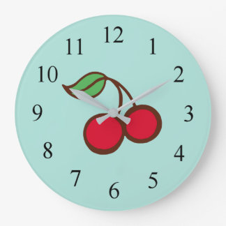 Retro Diner Kitchen Turquoise Cherry Wall Clock