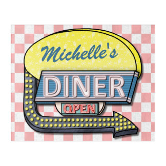 Retro Diner Sign 50s Pink Checkered Personalized Acrylic Wall Art
