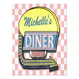 Retro Diner Sign 50s Pink Checkered Personalized Magnetic Card