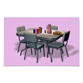 Retro Diner table and chairs Poster