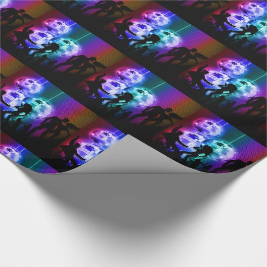 Retro Disco Ball Party Theme with Rainbow Colours Wrapping Paper