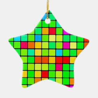 Retro Disco Colorful Squares Ceramic Star Ornament