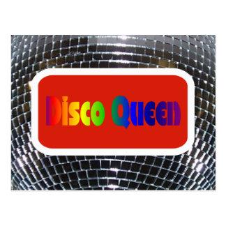 Retro Disco Queen Shiny Mirror Disco Ball Postcard