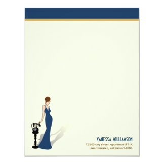 Retro Diva Custom Flat Note Cards (navy)