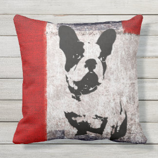RETRO DOG ON DISTRESSED TEXTURE Throw Cushion