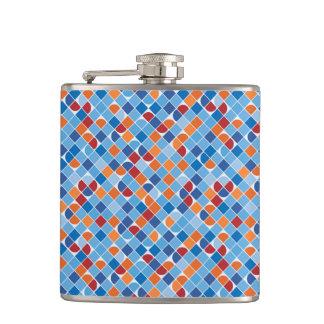 Retro dot check mosaic blue pattern flask