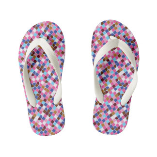 Retro dot check mosaic pink pattern kid's flip flops