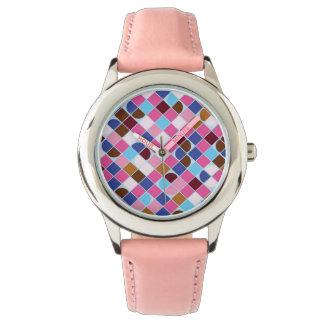 Retro dot check mosaic pink pattern watch