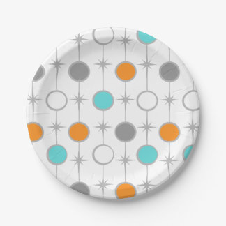 Retro Dots and Starbursts Paper Plate 7 Inch Paper Plate