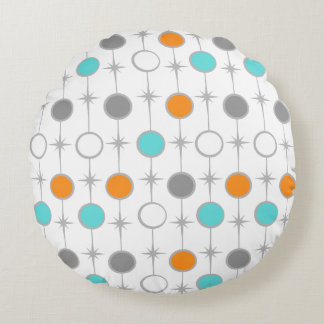 Retro Dots and Starbursts Round Pillow