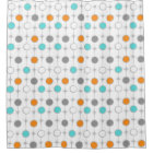 Retro Dots and Starbursts Shower Curtain