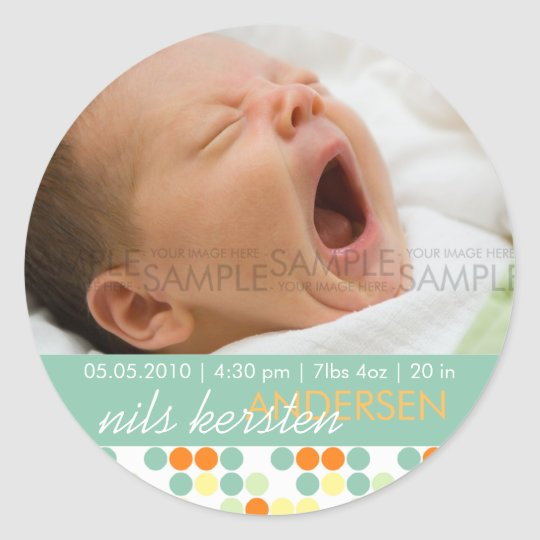 Retro Dots Aqua • Baby Announcement Classic Round Sticker