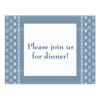 Retro Double Diamond Blue Dinner Party Invite Postcard
