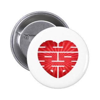 Retro Double Happy Heart 2 Inch Round Button