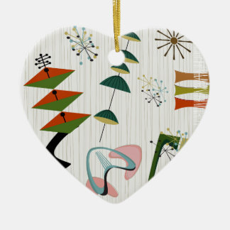 Retro Eames-Era Atomic Inspired Ceramic Heart Ornament