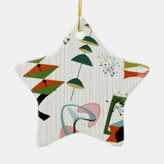 Retro Eames-Era Atomic Inspired Ceramic Star Ornament