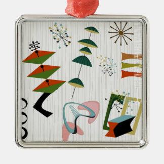 Retro Eames-Era Atomic Inspired Silver-Colored Square Ornament