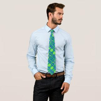 Retro Earth Satin Foulard Pattern Tie