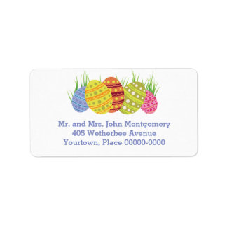 Retro Easter Eggs in the Grass Label